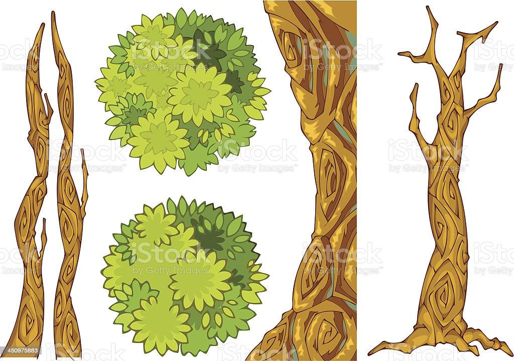 Tree elements vector art illustration