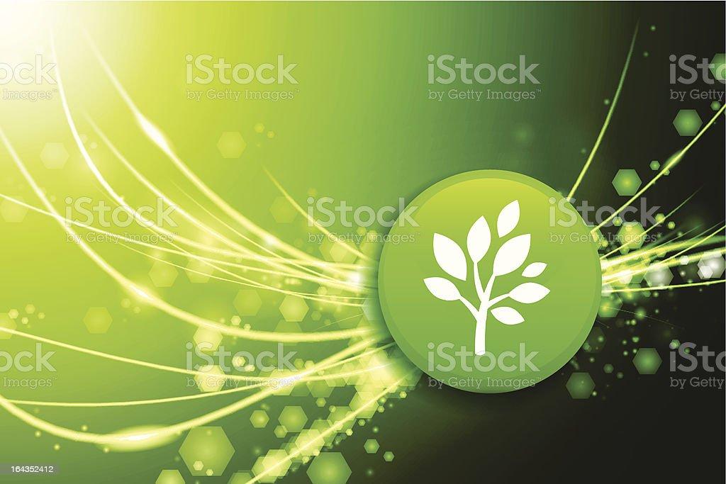 Tree Flag Button on Fiber Optic Background royalty-free stock vector art