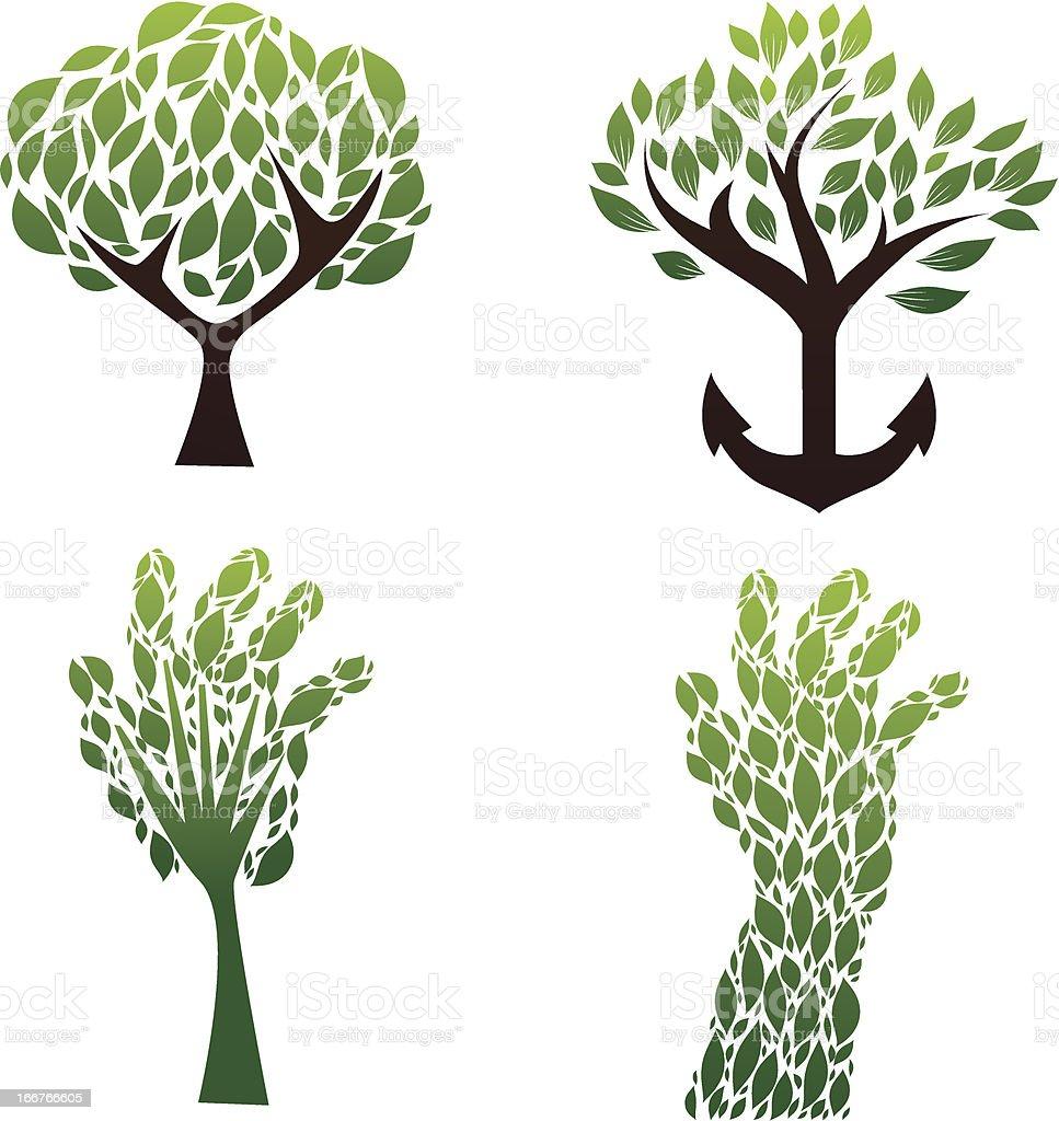 Tree Green Vector Set vector art illustration