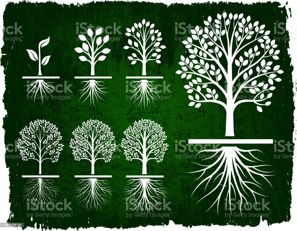 Tree Growing Green Grunge royalty free vector icon set vector art illustration