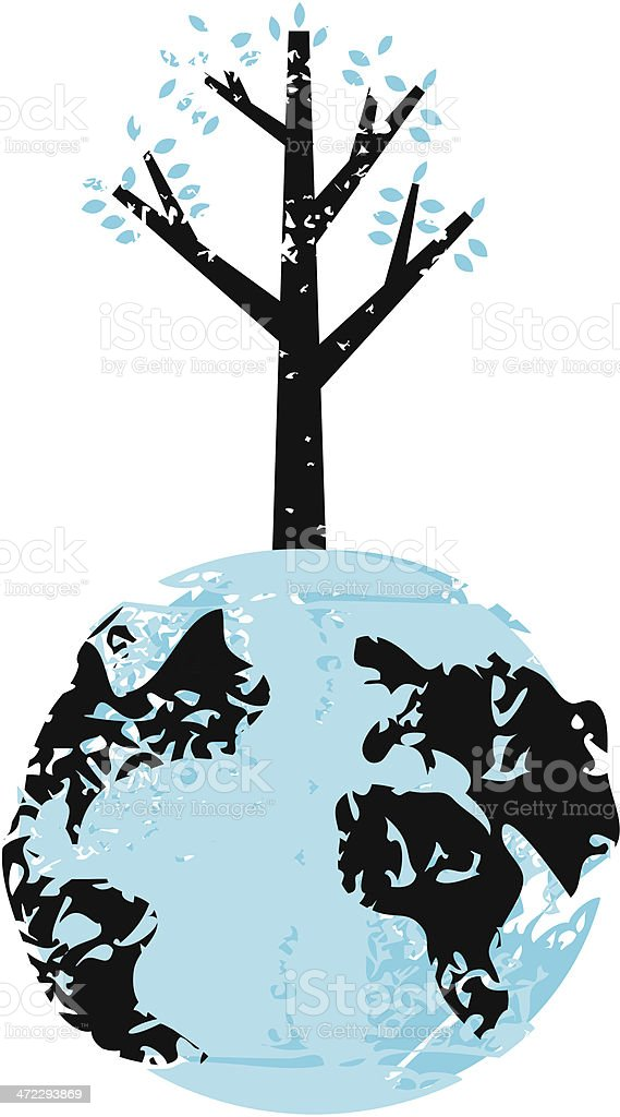 Tree Growing Out of Earth royalty-free stock vector art