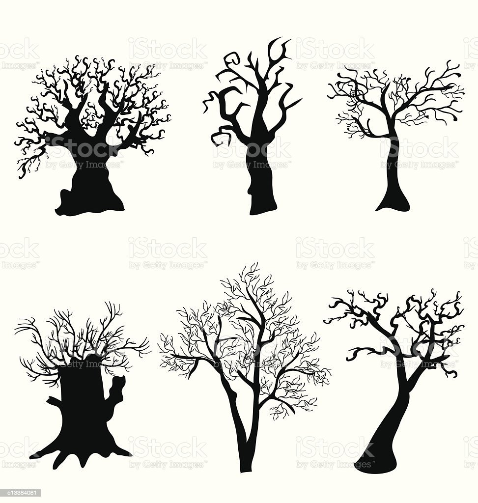 tree halloween vector art illustration