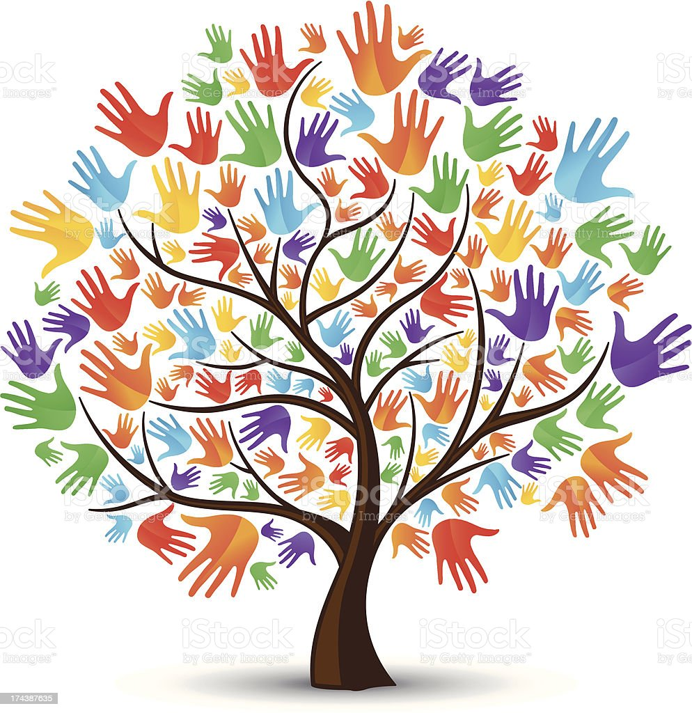Tree hands coloured royalty-free stock vector art