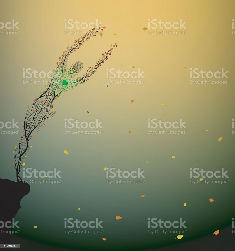 tree heart vector art illustration