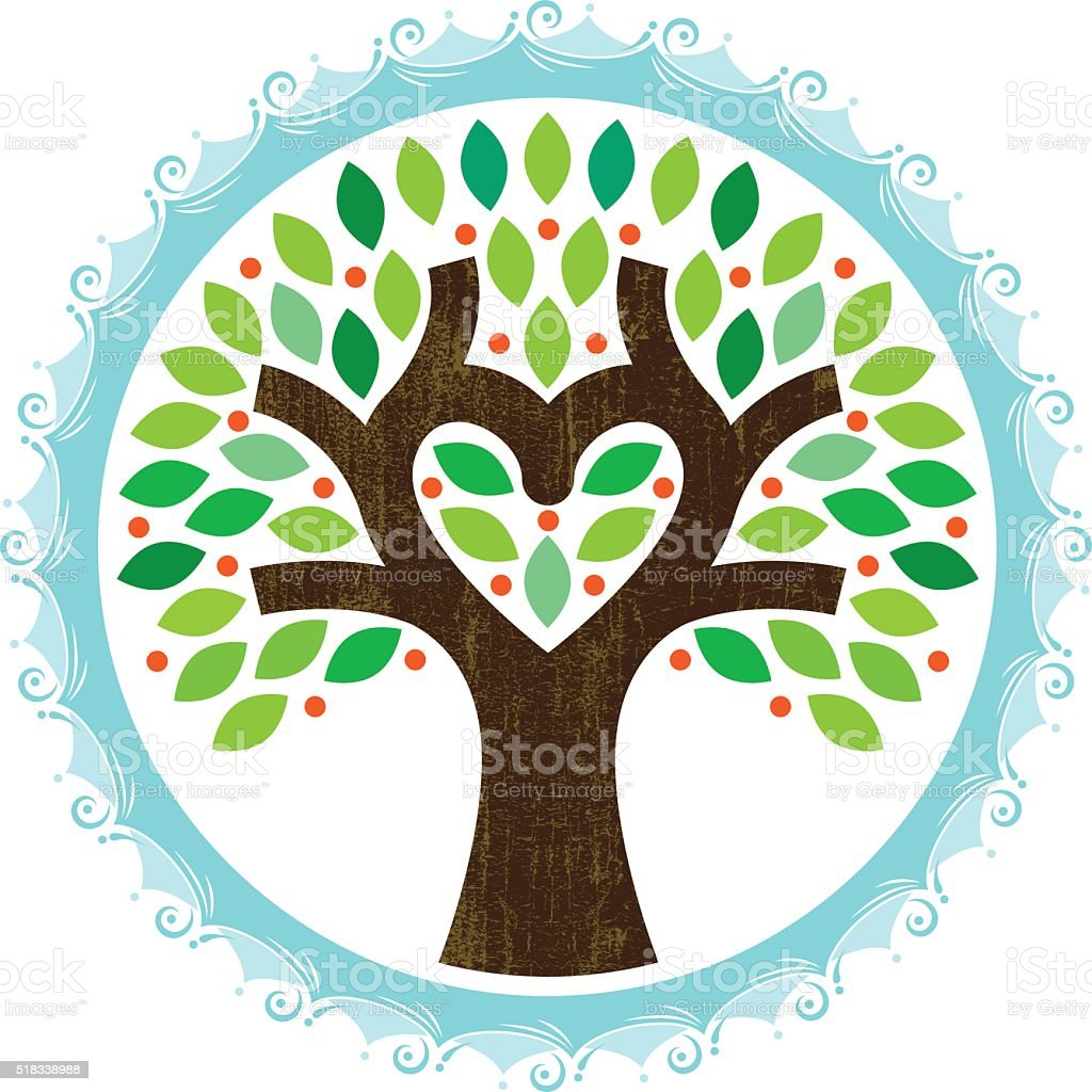 Tree heart water illustration vector art illustration