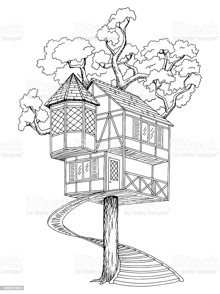 tree house graphic black white sketch illustration vector stock