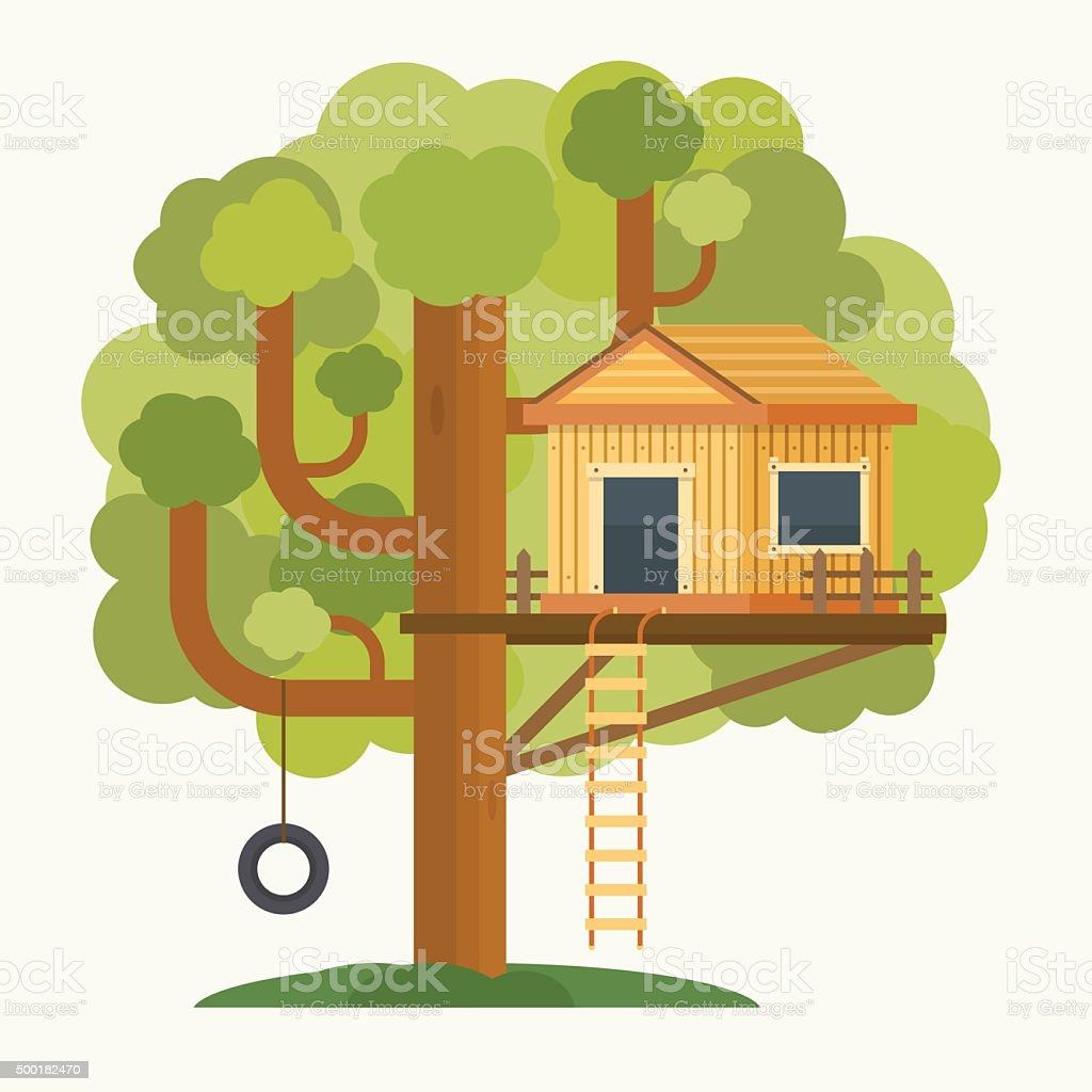 Tree house. House on tree for kids. vector art illustration