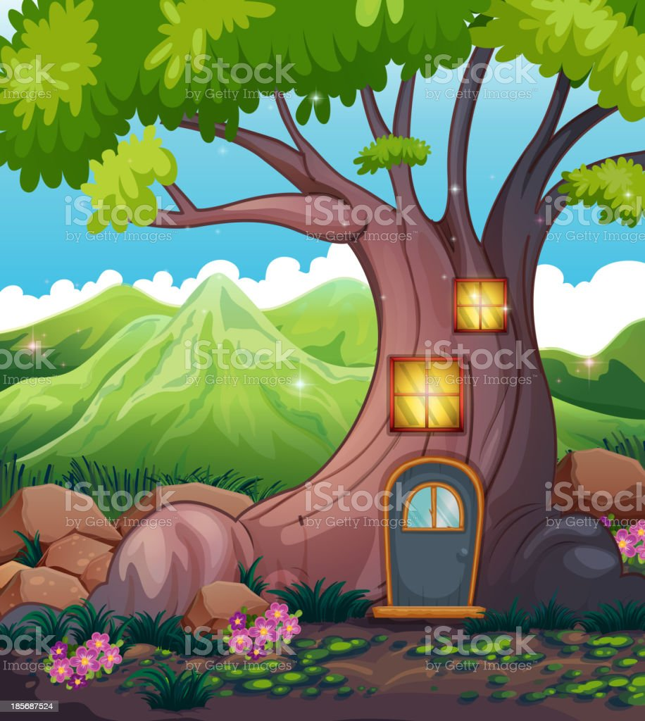 tree house in middle of the forest royalty-free stock vector art