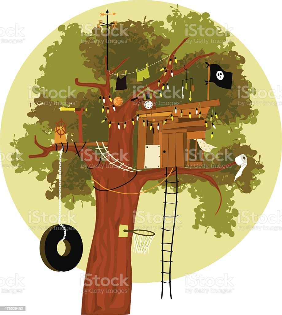 Tree house vector art illustration