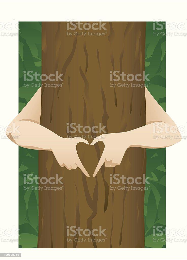 Tree Hugger vector art illustration