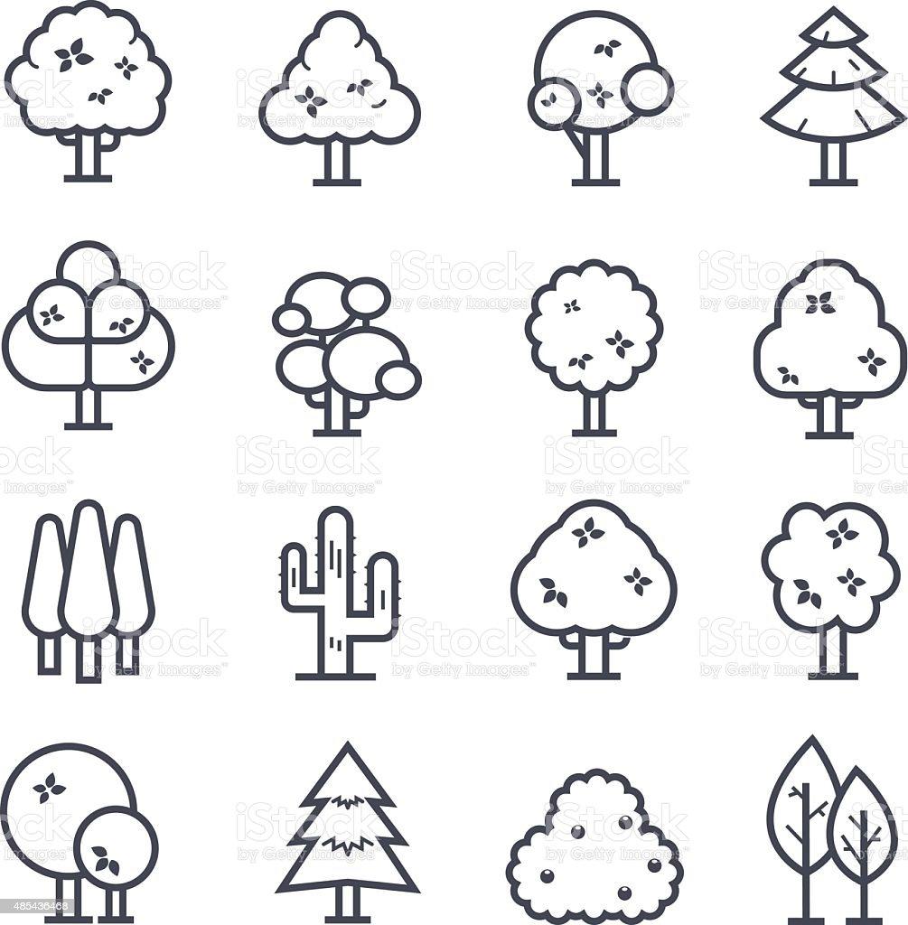 Tree Icon Bold Stroke vector art illustration