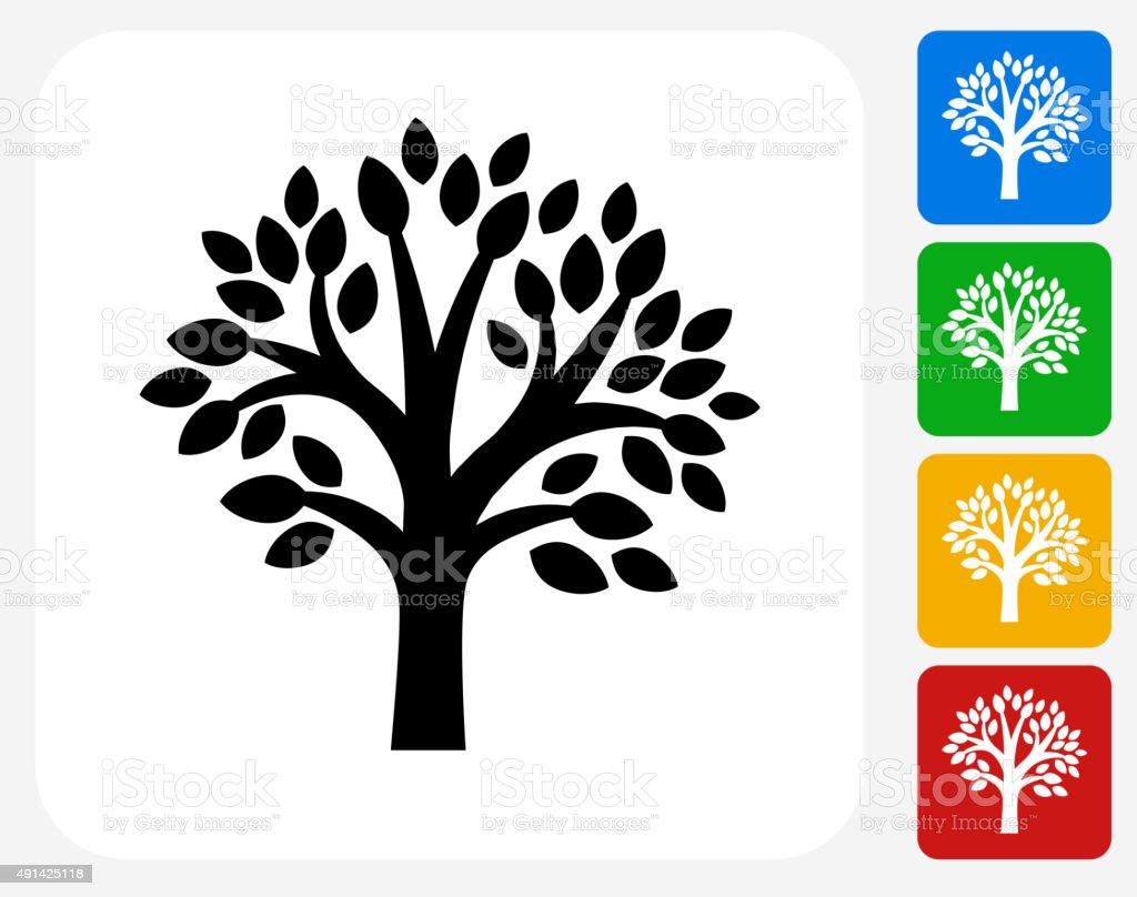 Tree Icon Flat Graphic Design vector art illustration