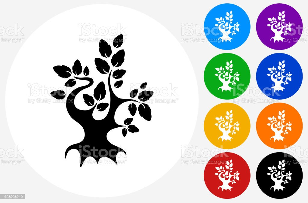 Tree Icon on Flat Color Circle Buttons vector art illustration
