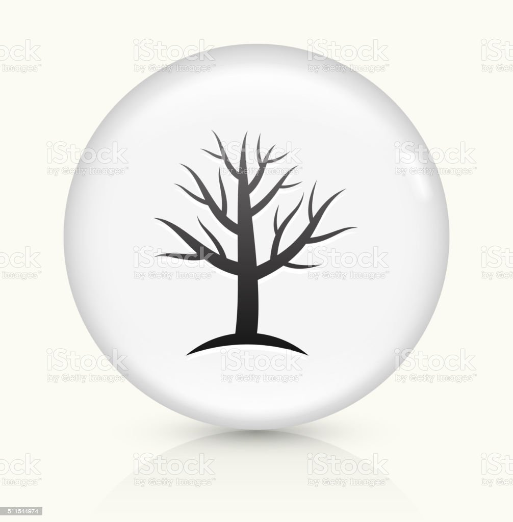 Tree icon on white round vector button vector art illustration