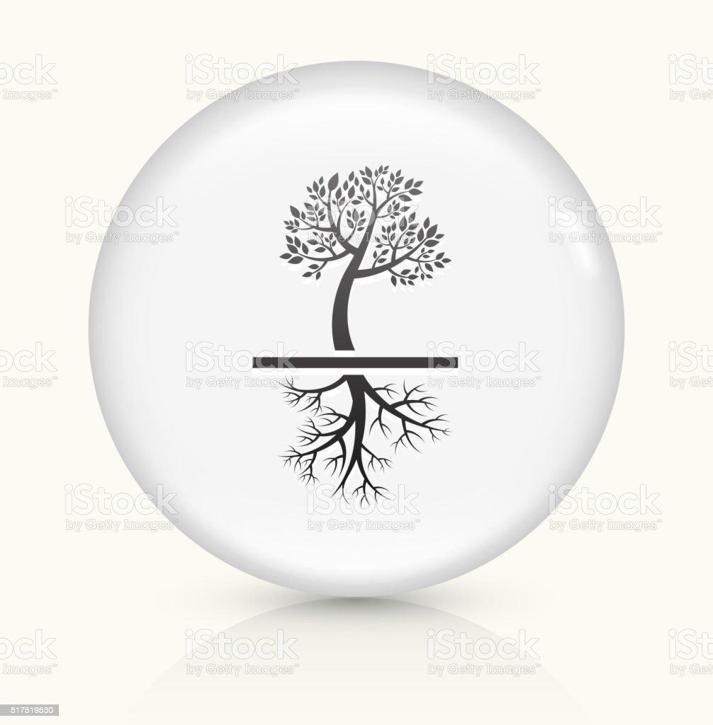 Tree icon on white round vector button vector art illustration