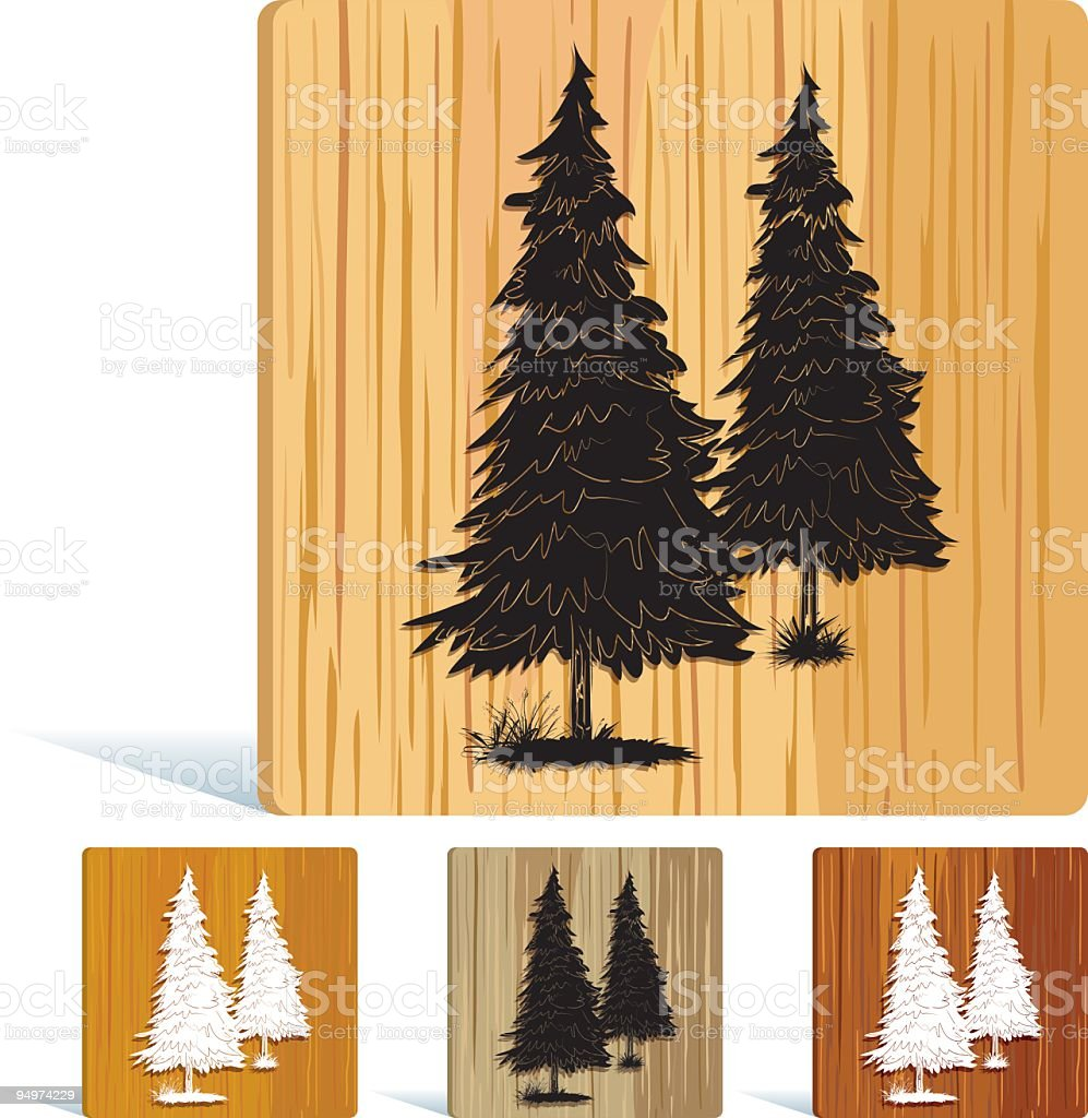 Tree Icon on Wood royalty-free stock vector art