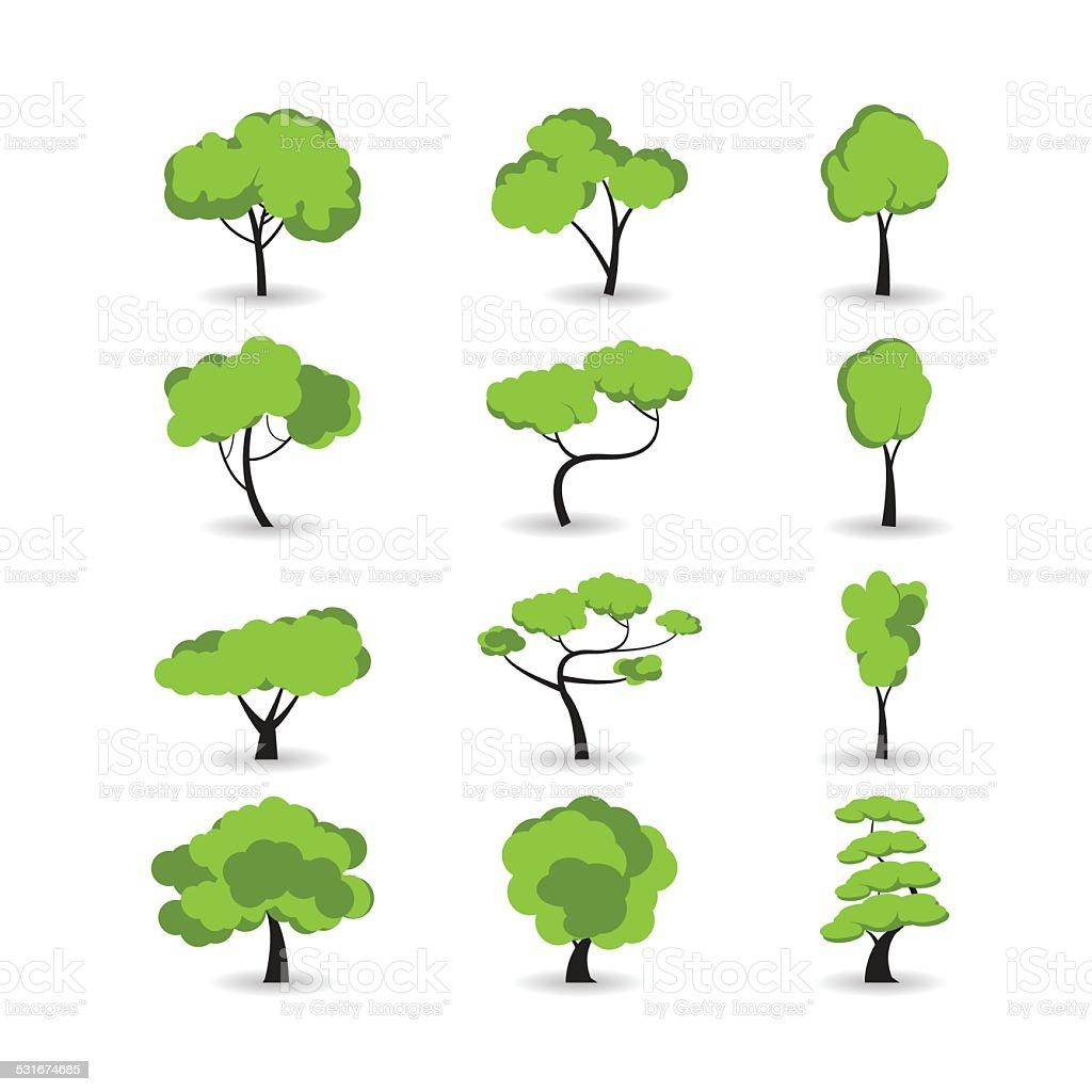 tree icon set, vector eps10 vector art illustration
