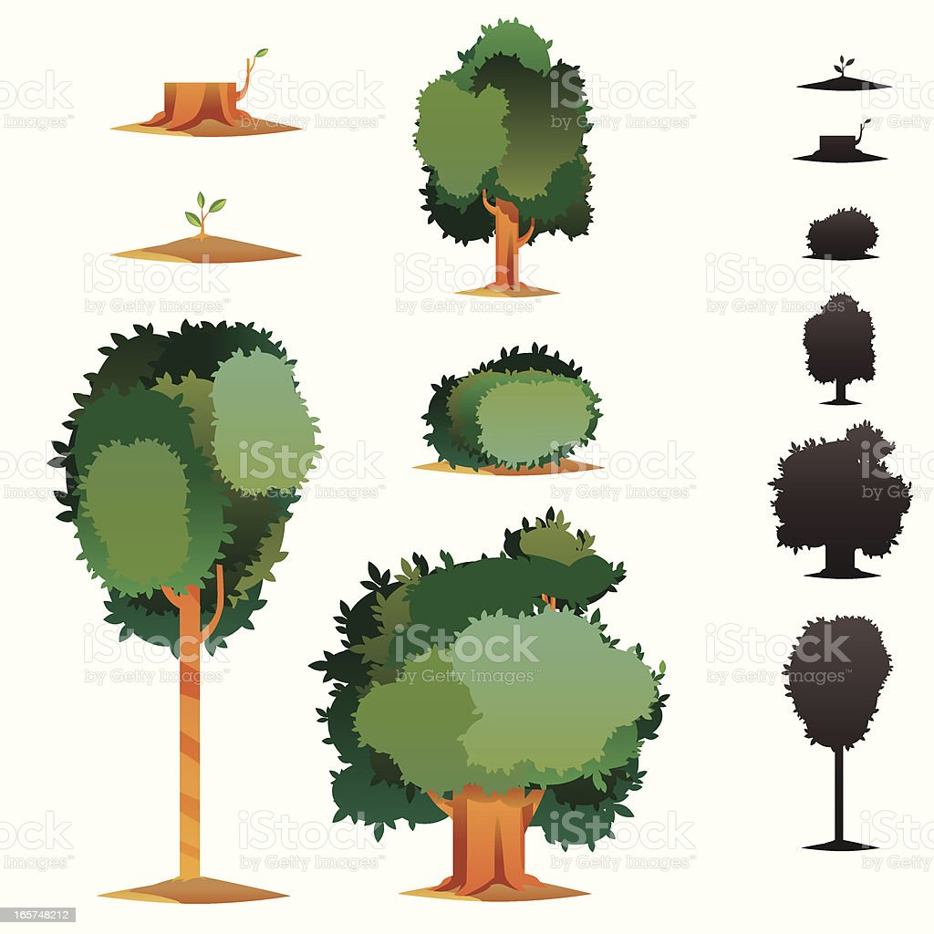 Tree Icon Set vector art illustration