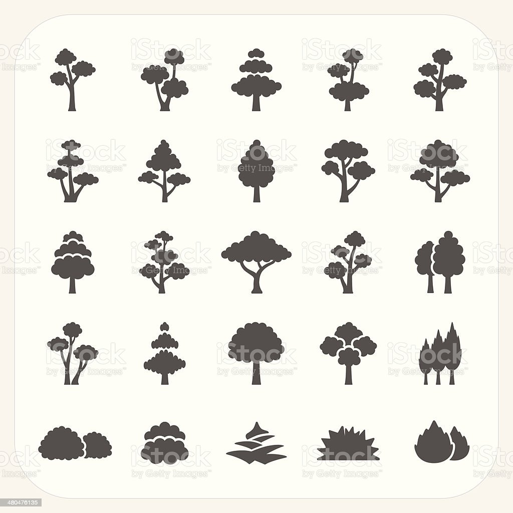 Tree icons set vector art illustration