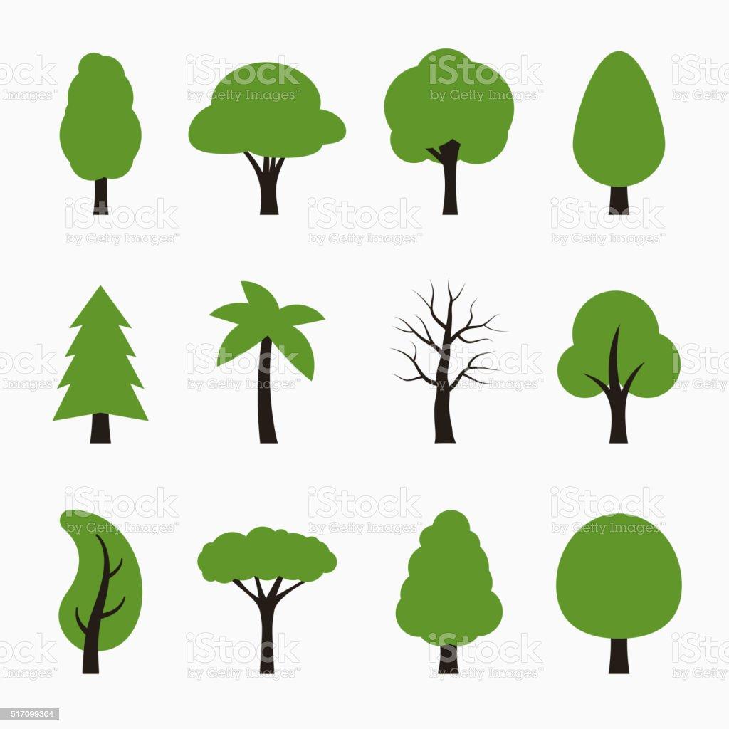 Tree icons set. vector art illustration