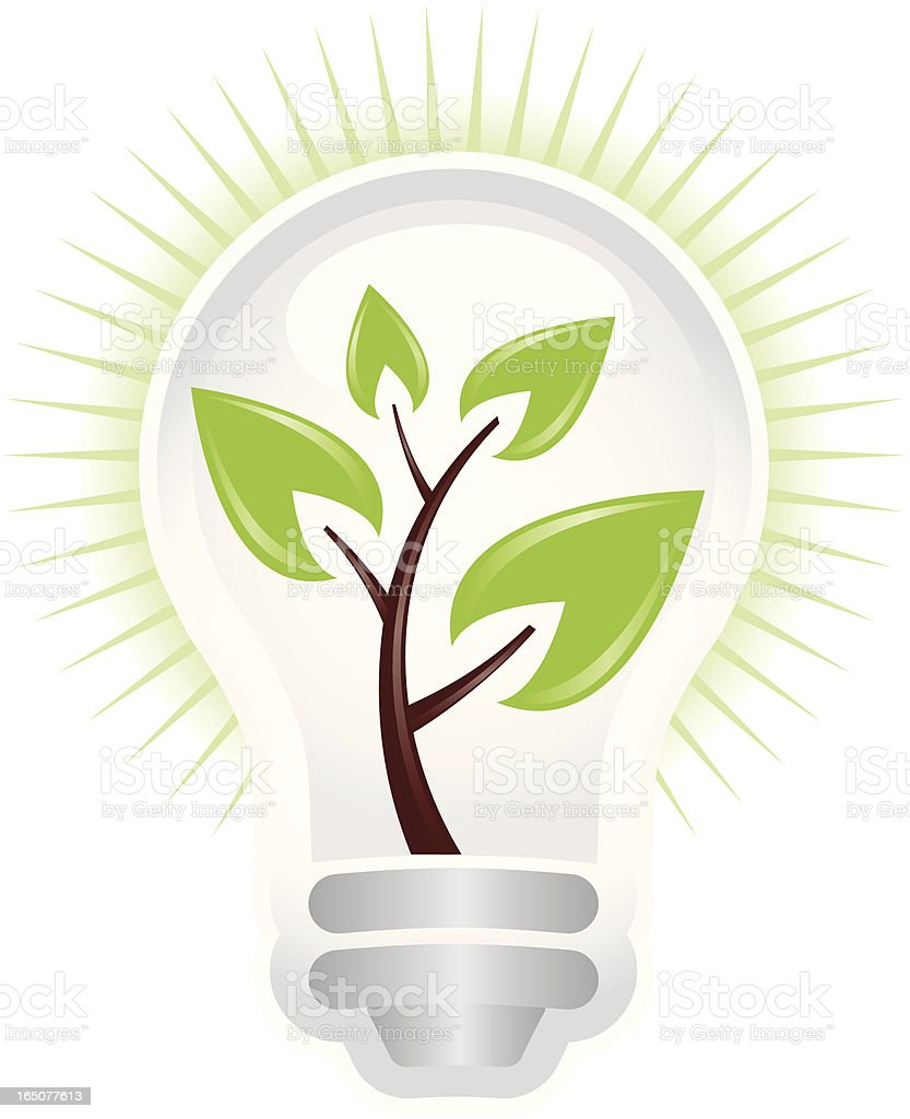 Tree In A Light Bulb royalty-free stock vector art