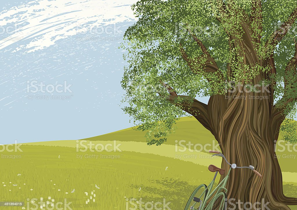 Tree in a meadow royalty-free stock vector art