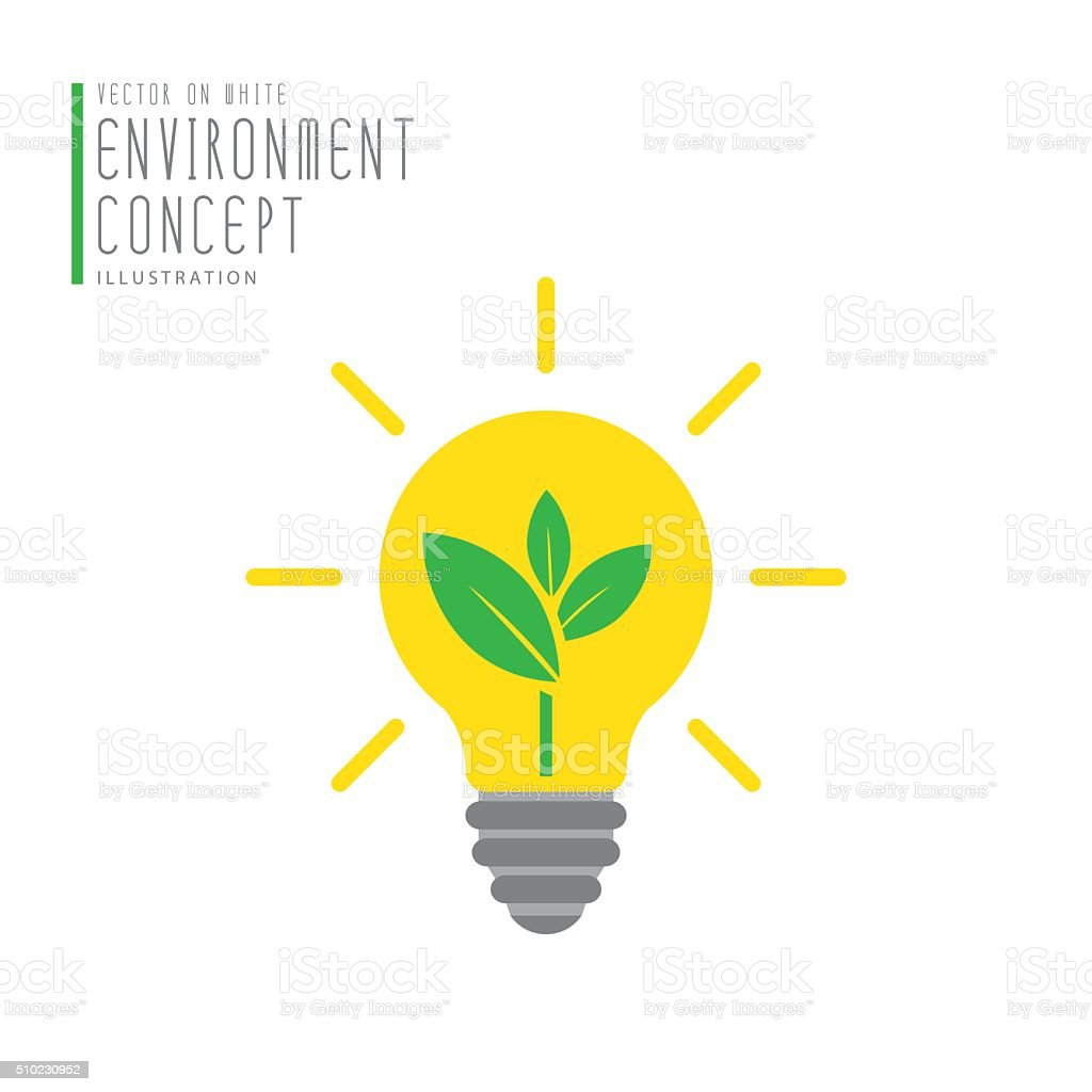 Tree in bulb icon symbol environment concept flat vector. vector art illustration