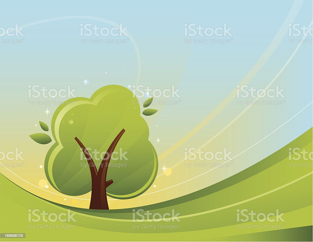 Tree in Field royalty-free stock vector art