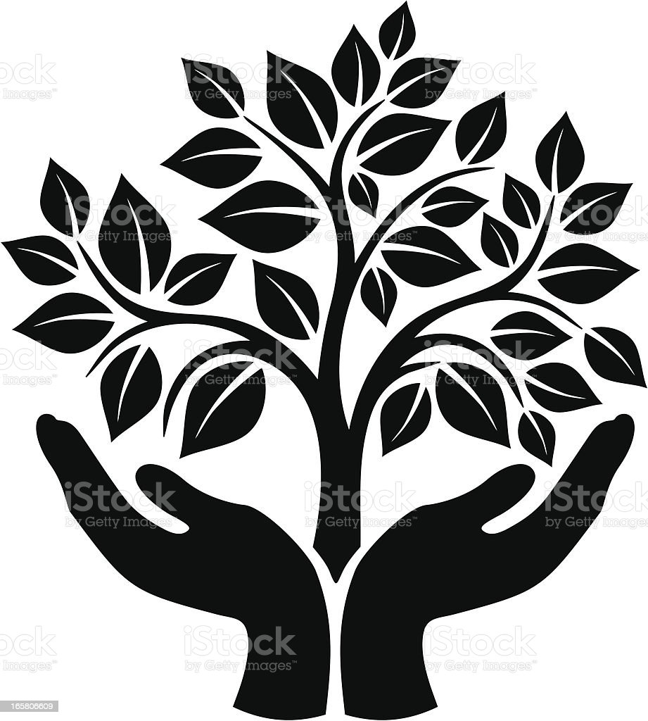 Tree in hands vector art illustration