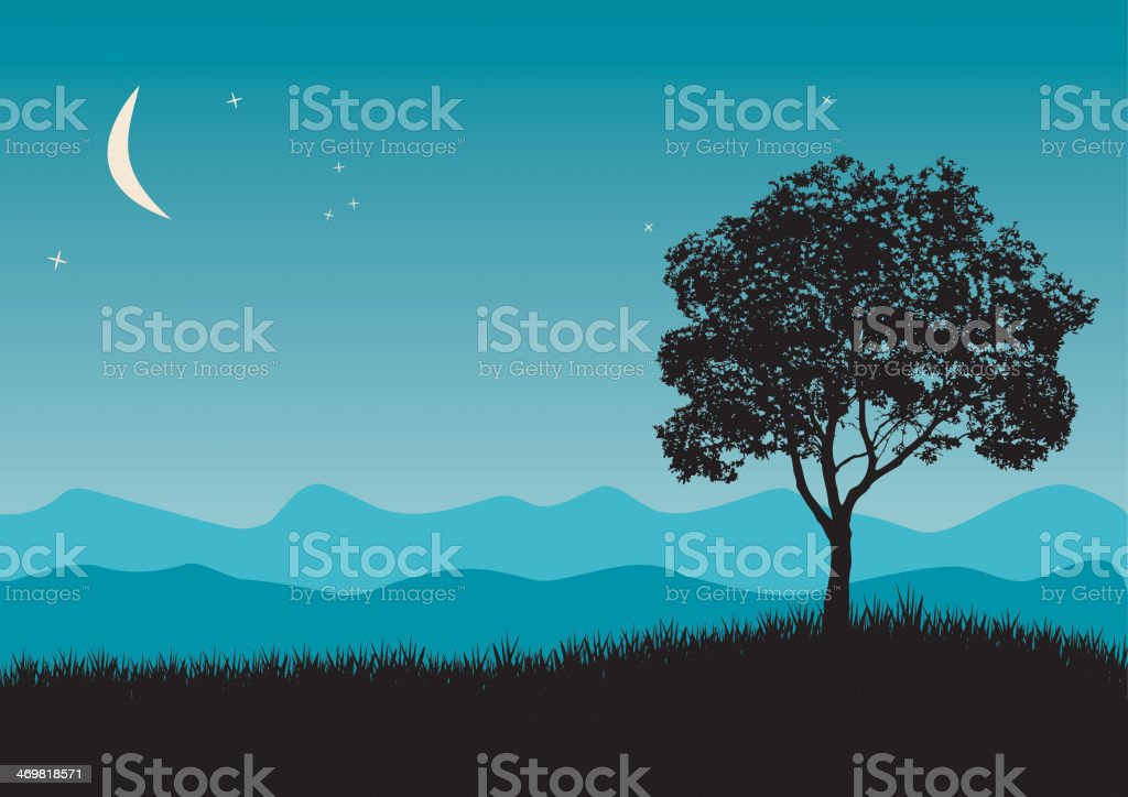 Tree in night scene vector art illustration