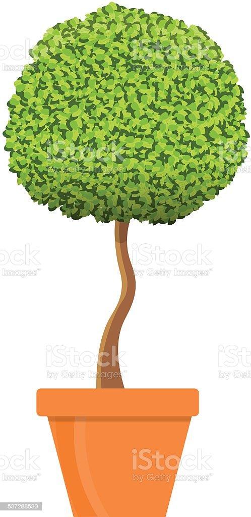 Tree in pot vector illustration vector art illustration