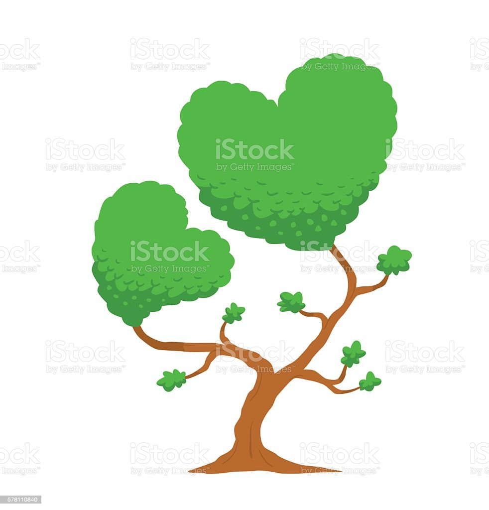 Tree in the form of two hearts vector art illustration