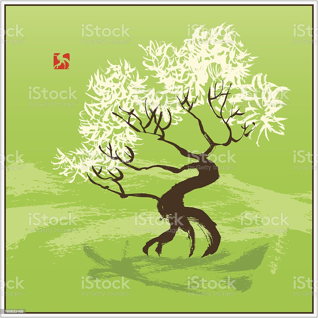 Tree in the Wind / Bonsai royalty-free stock vector art