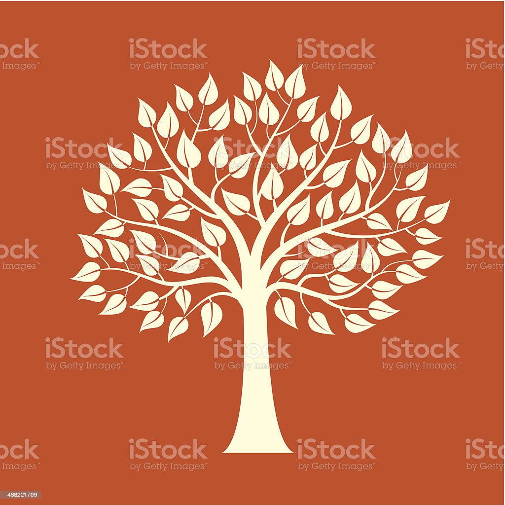 Tree isolated on a red background vector art illustration