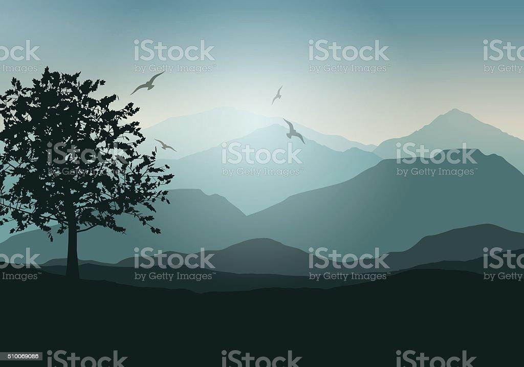 Tree landscape vector art illustration