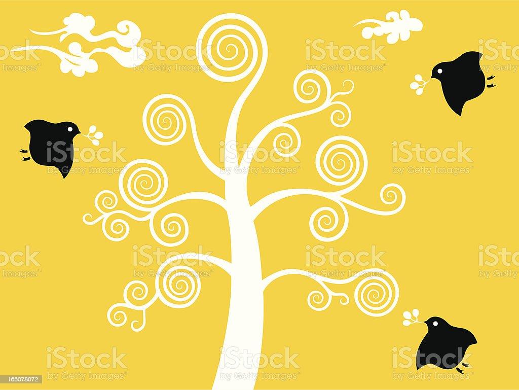 Tree, Little Bird & Cloud royalty-free stock vector art