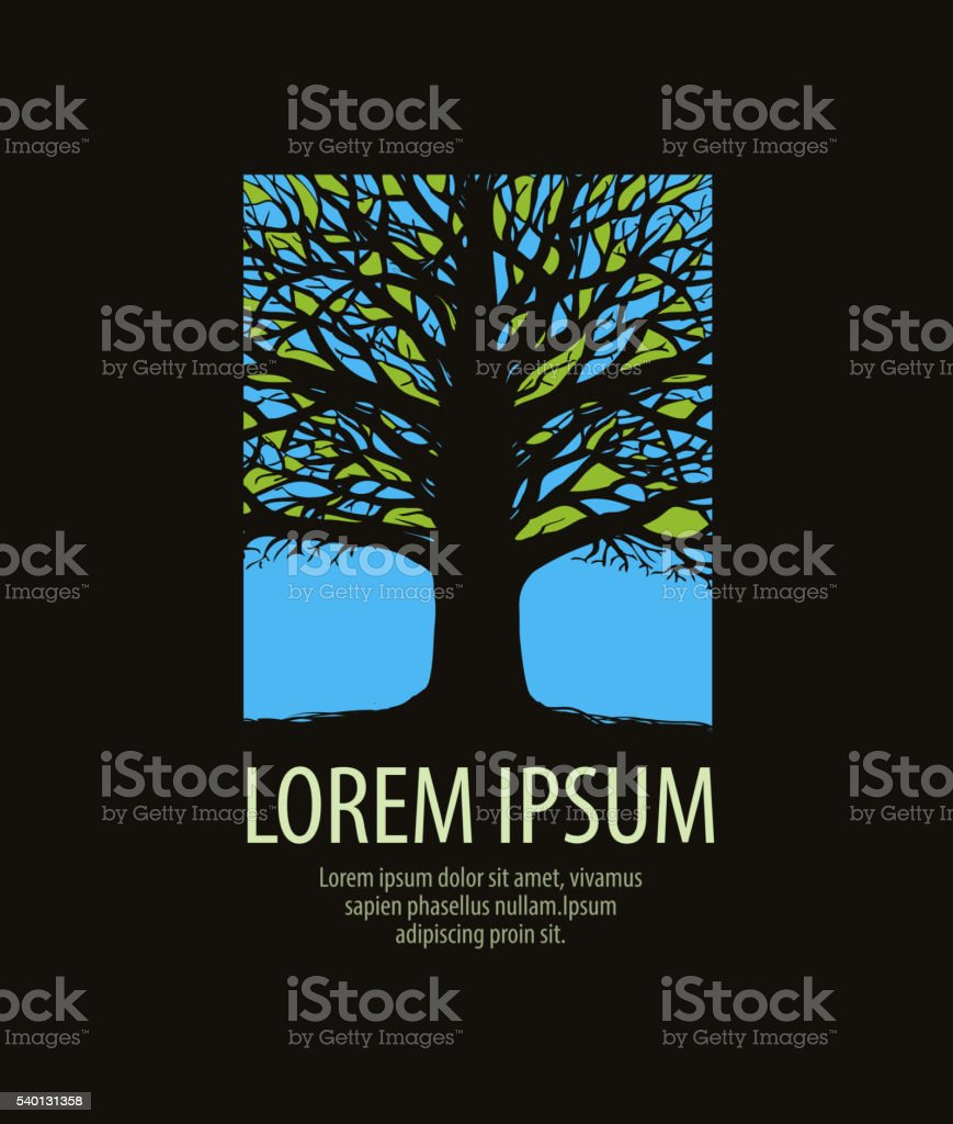 tree logo. nature, ecology icon. stained glass window vector illustration vector art illustration