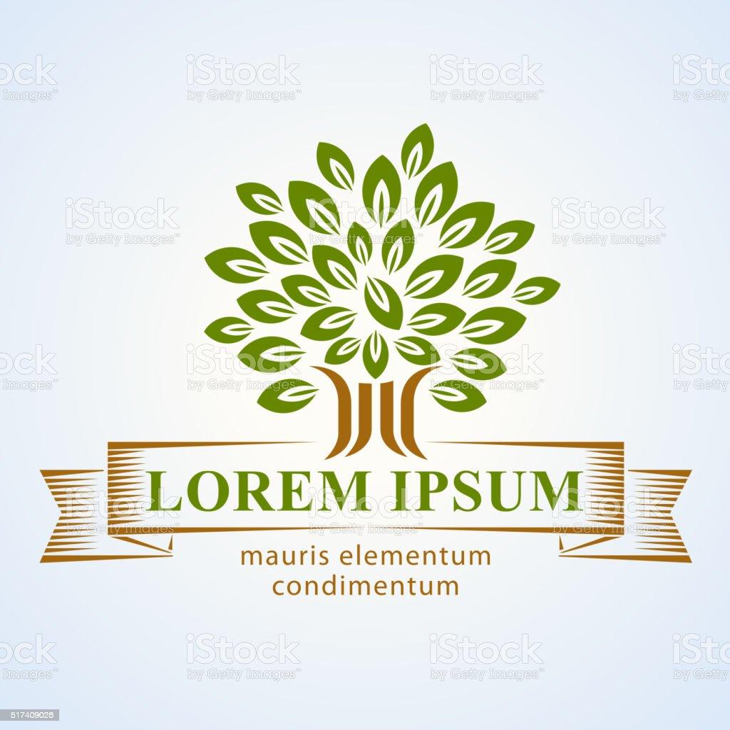 Tree logo vector art illustration