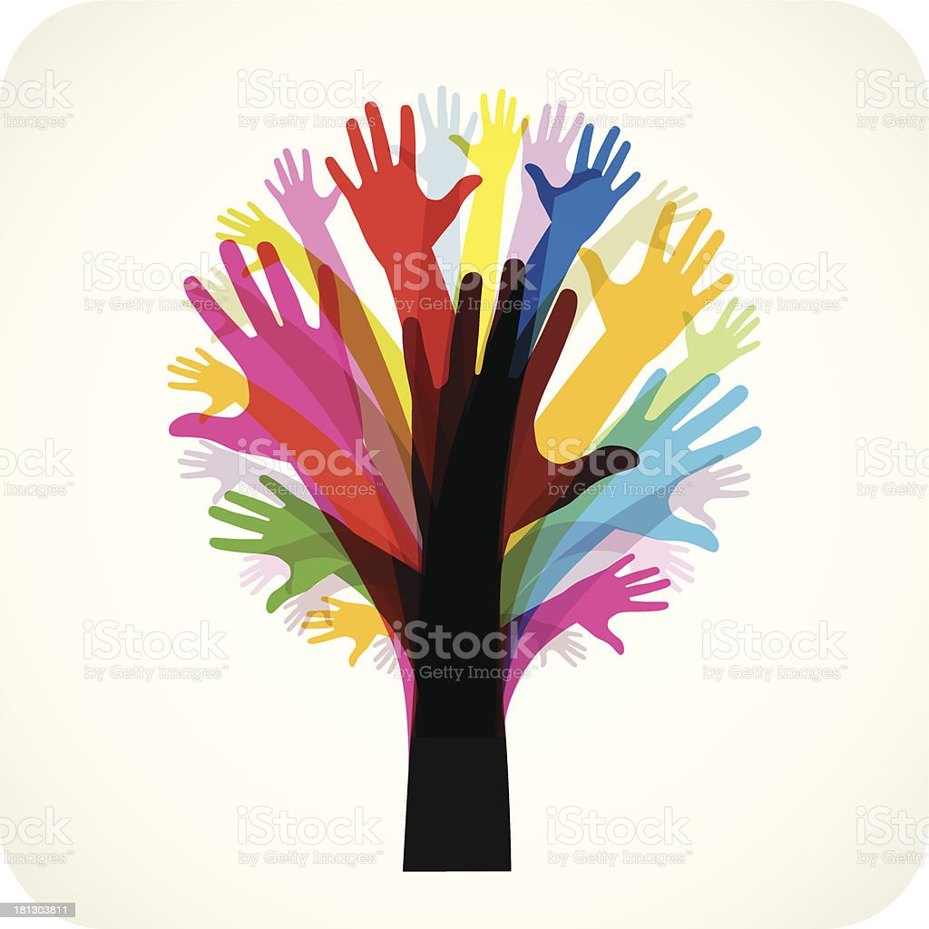 Tree Made Of Hands vector art illustration
