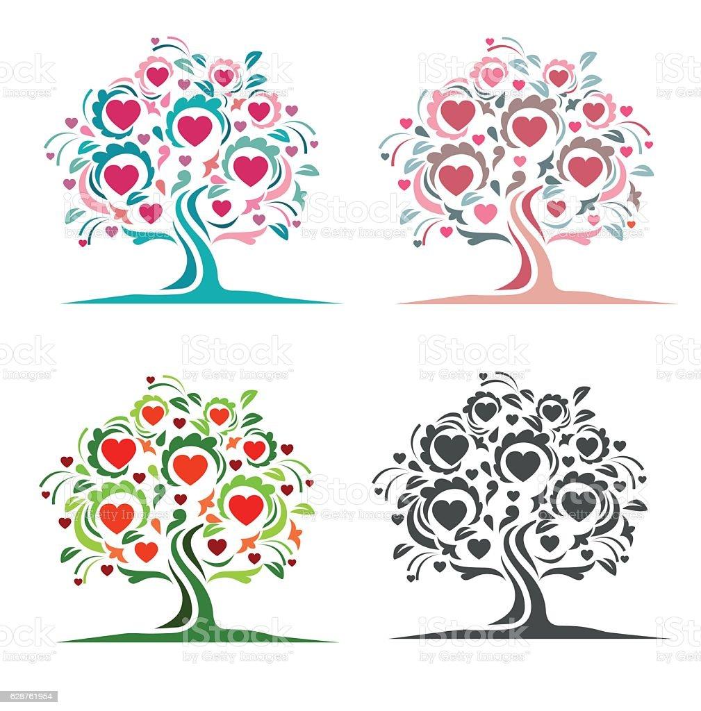 Tree of hearts set vector art illustration