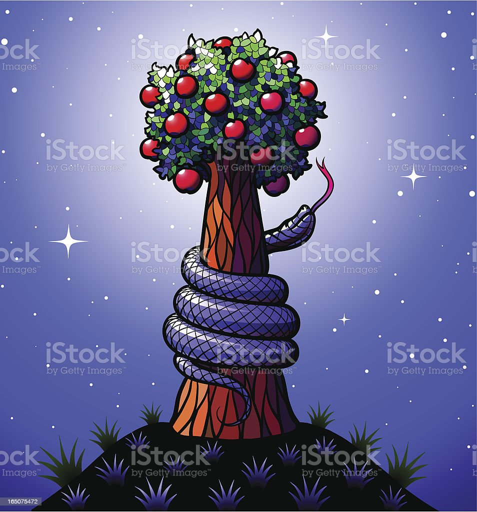 Tree of Knowledge Good and Evil vector art illustration