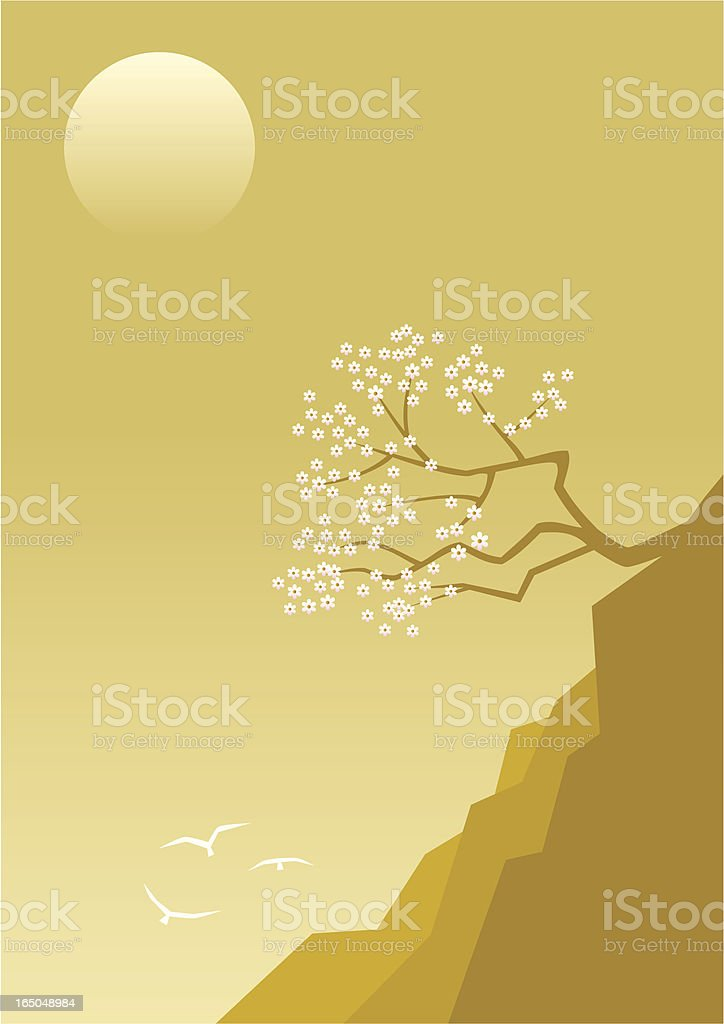 Tree on a cliff royalty-free stock vector art