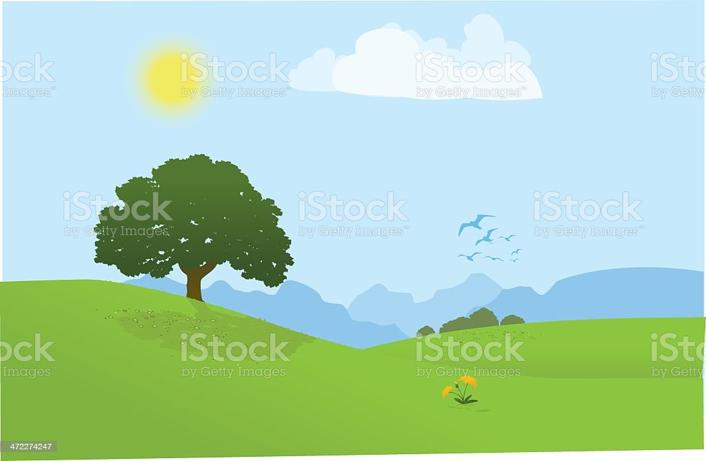 Tree on a Grassy Hill royalty-free stock vector art