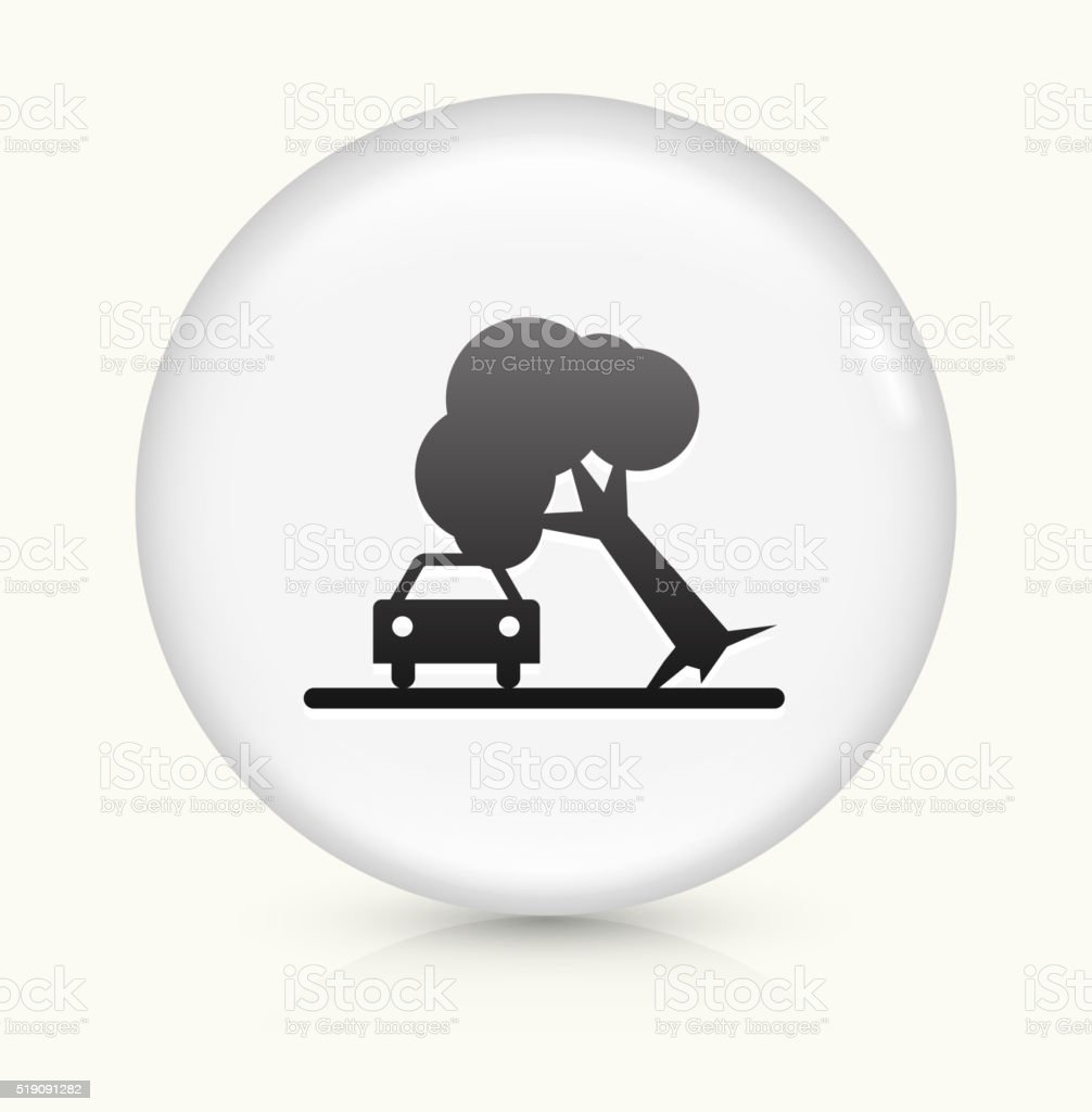 Tree on Car Accident icon on white round vector button vector art illustration