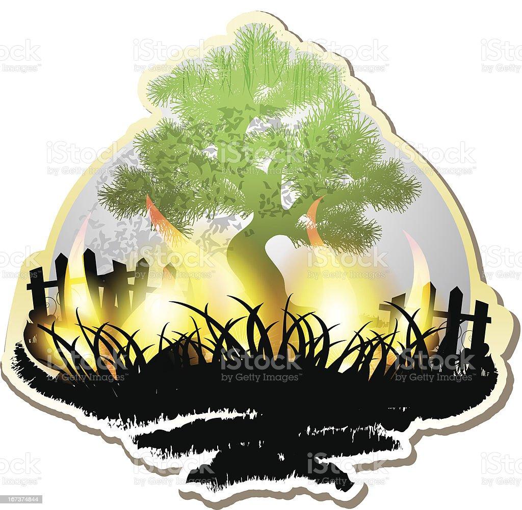 Tree on fire royalty-free stock vector art