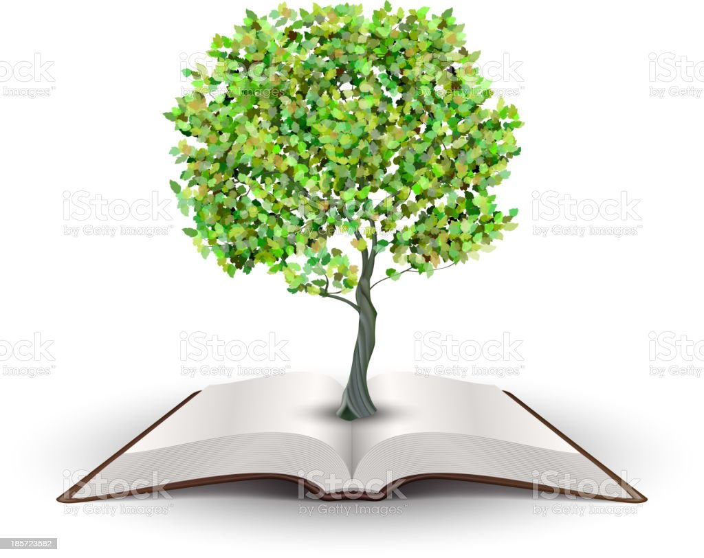 Tree on open book royalty-free stock vector art