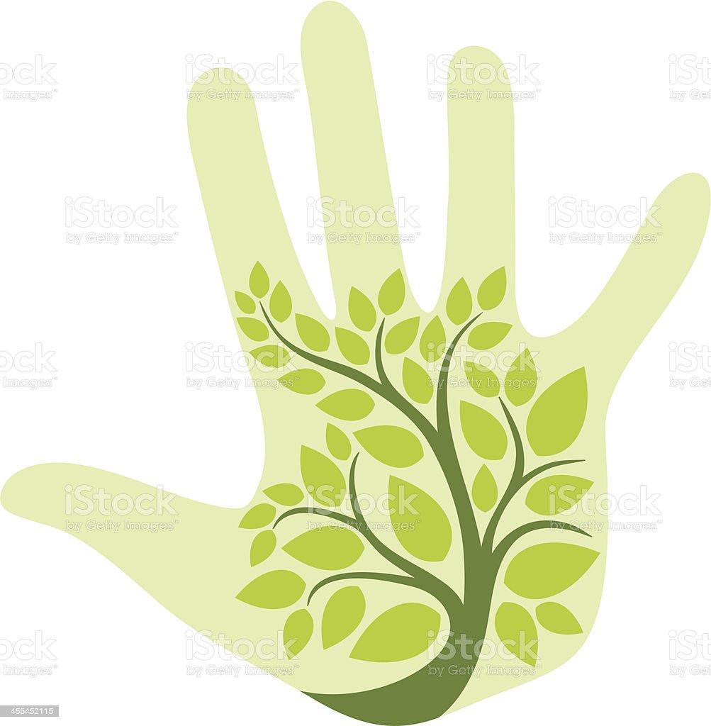 Tree on palm vector art illustration