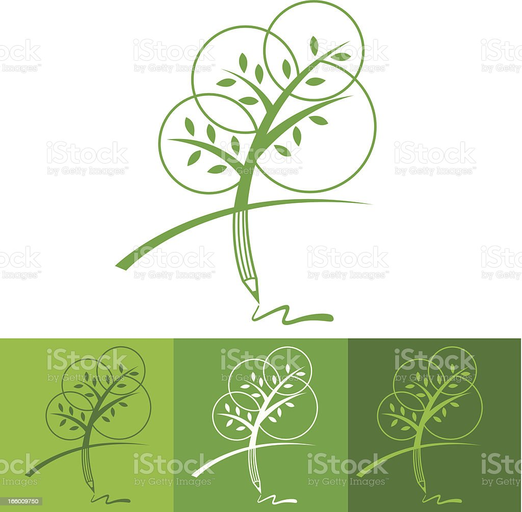 Tree pencil one color vector art illustration