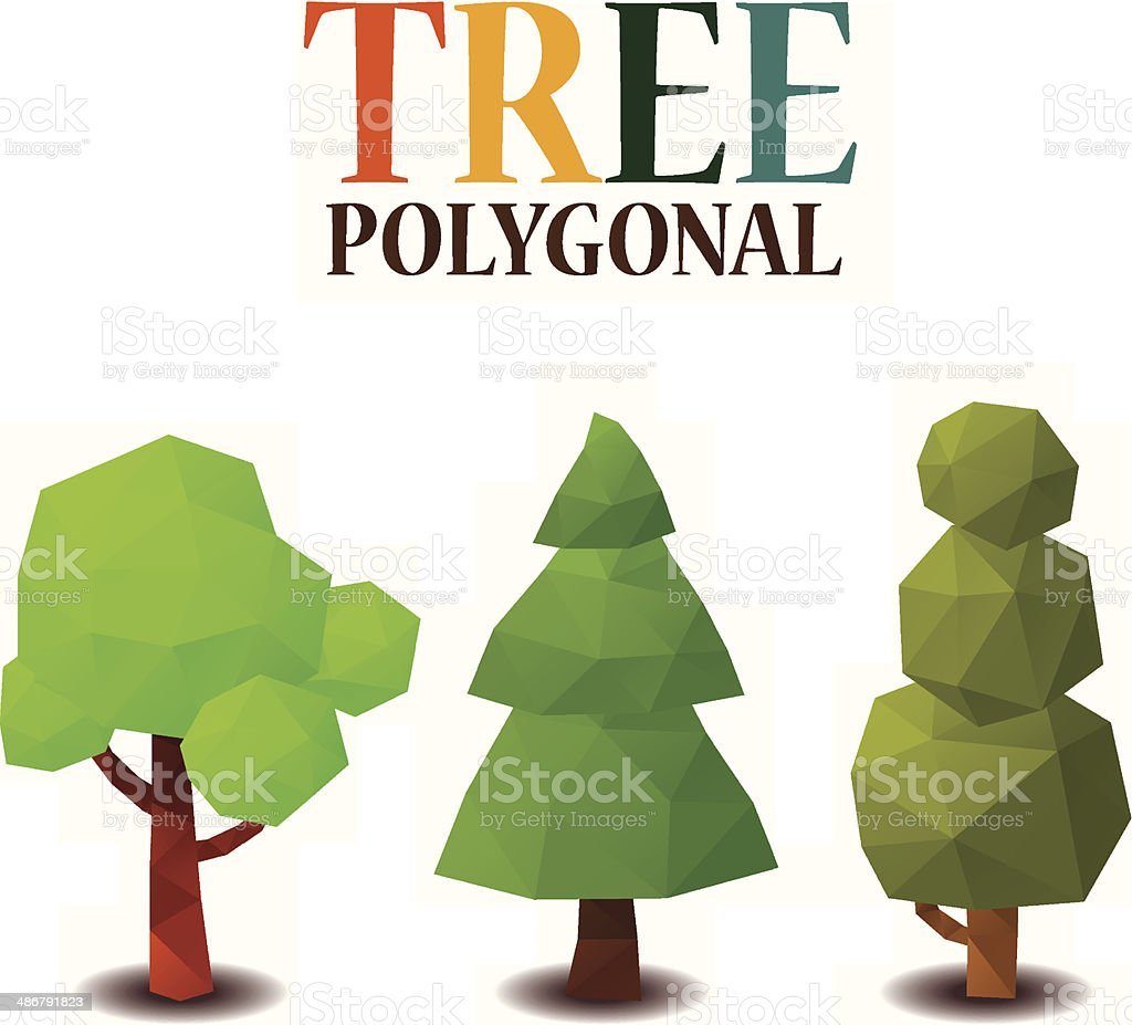 Tree polygonal style royalty-free stock vector art
