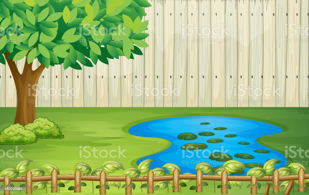 tree,  pond and  beautiful landscape royalty-free stock vector art